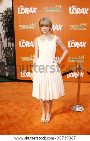 LOS ANGELES, CA - FEB 19: Taylor Swift at the 'Dr. Suess' The Lorax' premiere at Universal Studios Hollywood on February 19, 2012 in Los Angeles, California - stock photo