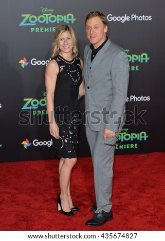 "LOS ANGELES, CA - FEBRUARY 17, 2016: Actor Alan Tudyk & fiancee at the premiere of Disney's ""Zootopia"" at the El Capitan Theatre, Hollywood.
