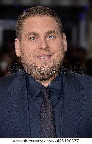 "LOS ANGELES, CA - FEBRUARY 1, 2016: Actor Jonah Hill at the world premiere of his movie ""Hail Caesar!"" at the Regency Village Theatre, Westwood. - stock photo"