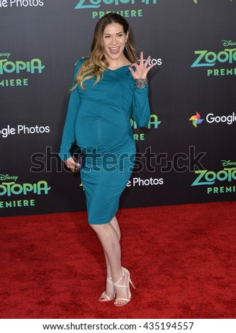 """LOS ANGELES, CA - FEBRUARY 17, 2016: Actress Allison Holker at the premiere of Disney's """"Zootopia"""" at the El Capitan Theatre, Hollywood. - stock photo"""