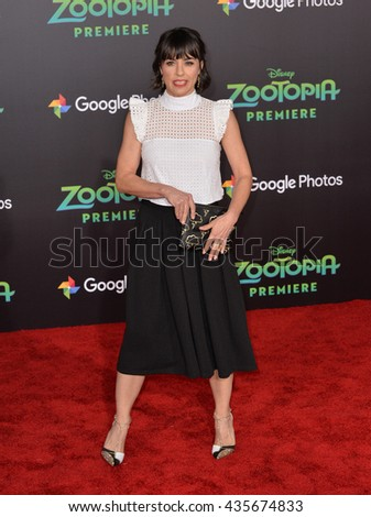 "LOS ANGELES, CA - FEBRUARY 17, 2016: Actress Constance Zimmer at the premiere of Disney's ""Zootopia"" at the El Capitan Theatre, Hollywood.