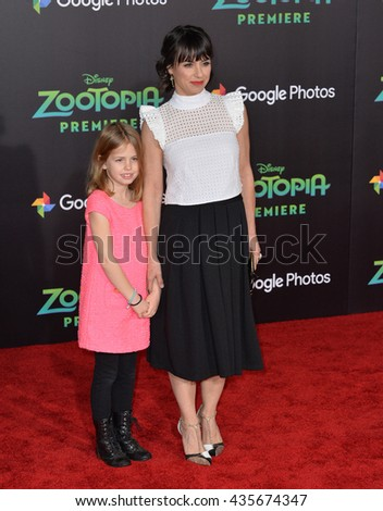 "LOS ANGELES, CA - FEBRUARY 17, 2016: Actress Constance Zimmer & daughter at the premiere of Disney's ""Zootopia"" at the El Capitan Theatre, Hollywood.