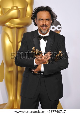 LOS ANGELES, CA - FEBRUARY 22, 2015: Alejandro Gonzalez Inarritu at the 87th Annual Academy Awards at the Dolby Theatre, Hollywood.  - stock photo