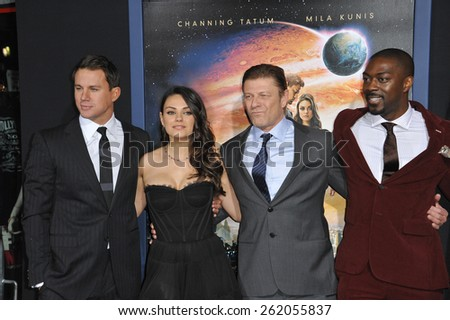 """LOS ANGELES, CA - FEBRUARY 2, 2015: Channing Tatum, Mila Kunis, Sean Bean & David Ajala at the Los Angeles premiere of their movie """"Jupiter Ascending"""" at the TCL Chinese Theatre, Hollywood.  - stock photo"""
