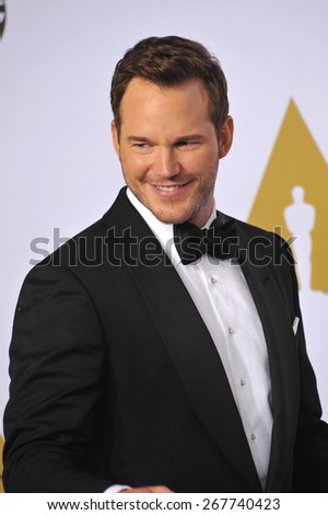 LOS ANGELES, CA - FEBRUARY 22, 2015: Chris Pratt at the 87th Annual Academy Awards at the Dolby Theatre, Hollywood.  - stock photo