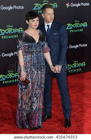 "LOS ANGELES, CA - FEBRUARY 17, 2016: Ginnifer Goodwin & Josh Dallas at the premiere of Disney's ""Zootopia"" at the El Capitan Theatre, Hollywood.