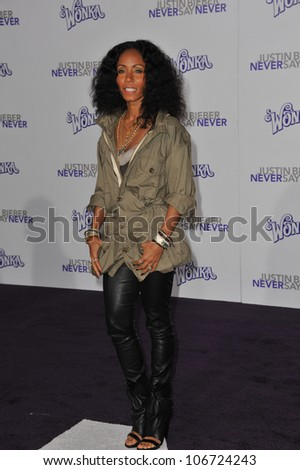 "LOS ANGELES, CA - FEBRUARY 8, 2011: Jada Pinkett Smith at the Los Angeles premiere of ""Justin Bieber: Never Say Never"" at the Nokia Theatre LA Live. February 8, 2011  Los Angeles, CA - stock photo"