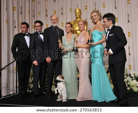 LOS ANGELES, CA - FEBRUARY 26, 2012: Jean Dujardin, Berenice Bejo, James Cromwell, Penelope Ann Miller, Missi Pyle, directer Michel Hazanavicius & producer Thomas Langmann - at the  Academy Awards  - stock photo