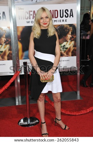 """LOS ANGELES, CA - FEBRUARY 9, 2015: Morgan Saylor at the world premiere of her movie """"McFarland USA"""" at the El Capitan Theatre, Hollywood.  - stock photo"""