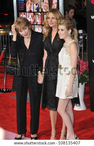 "LOS ANGELES, CA - FEBRUARY 8, 2010: Shirley MacLaine (left), Julia Roberts & Emma Roberts at the world premiere of their new movie ""Valentine's Day"" at Grauman's Chinese Theatre, Hollywood. - stock photo"