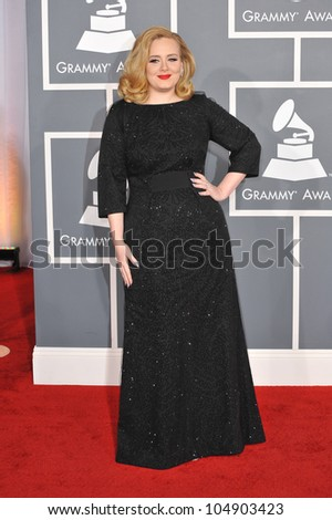 LOS ANGELES, CA - FEBRUARY 12, 2012: Singer Adele at the 54th Annual Grammy Awards at the Staples Center, Los Angeles on February 12, 2012  Los Angeles, CA - stock photo