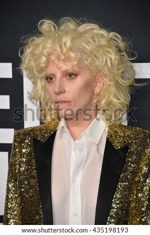 LOS ANGELES, CA - FEBRUARY 10, 2016: Singer Lady Gaga arriving at the Saint Laurent at the Palladium fashion show at the Hollywood Palladium. - stock photo