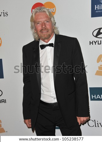 LOS ANGELES, CA - FEBRUARY 11, 2012: Sir Richard Branson at the 2012 Clive Davis Pre-Grammy Party at the Beverly Hilton Hotel, Beverly Hills. February 11, 2012  Los Angeles, CA - stock photo