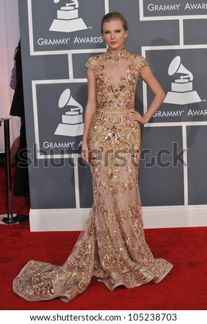 LOS ANGELES, CA - FEBRUARY 12, 2012: Taylor Swift at the 54th Annual Grammy Awards at the Staples Centre, Los Angeles. February 12, 2012  Los Angeles, CA - stock photo