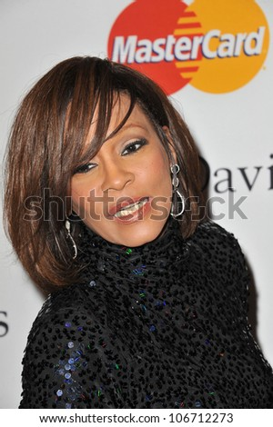 LOS ANGELES, CA - FEBRUARY 12, 2011: Whitney Houston at the 2011 Clive Davis pre-Grammy party at the Beverly Hilton Hotel. February 12, 2011  Beverly Hills, CA - stock photo