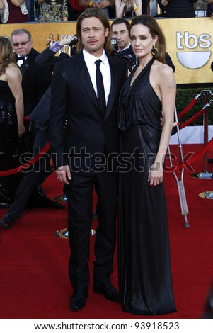 LOS ANGELES, CA - JAN 29: Angelina Jolie; Brad Pitt at the 18th annual Screen Actor Guild Awards at the Shrine Auditorium on January 29, 2012 in Los Angeles, California - stock photo