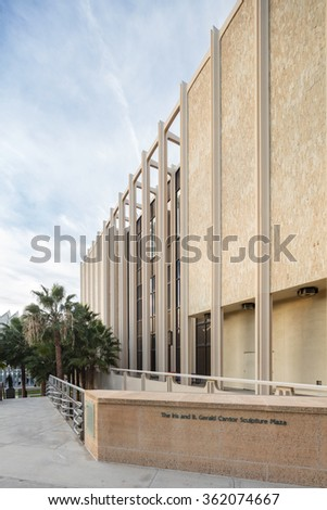 LOS ANGELES, CA - JAN 9: B. Gerald Cantor Sculpture Garden at LACMA with Rodin, Jan 9, 2016 in LA - stock photo