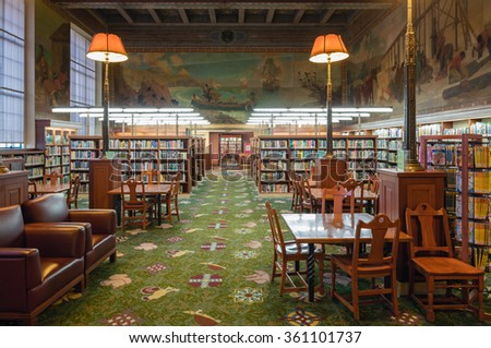 LOS ANGELES, CA - JAN 10: Los Angeles Central Library within the The Children's Literature Department. January 10, 2016 in LA - stock photo