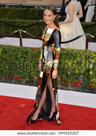 LOS ANGELES, CA - JANUARY 30, 2016: Actress Alicia Vikander at the 22nd Annual Screen Actors Guild Awards at the Shrine Auditorium - stock photo
