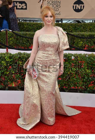 LOS ANGELES, CA - JANUARY 30, 2016: Actress Christina Hendricks at the 22nd Annual Screen Actors Guild Awards at the Shrine Auditorium - stock photo
