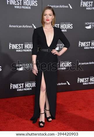 """LOS ANGELES, CA - JANUARY 25, 2016: Actress Holliday Grainger at the premiere of her movie """"The Finest Hours"""" at the TCL Chinese Theatre, Hollywood. - stock photo"""