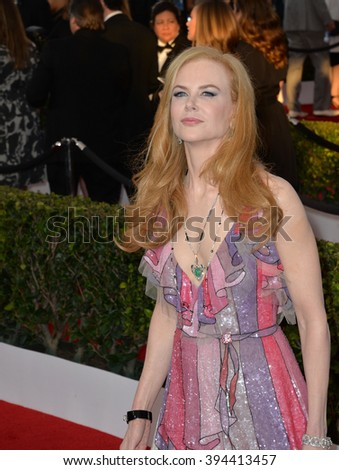 LOS ANGELES, CA - JANUARY 30, 2016: Actress Nicole Kidman at the 22nd Annual Screen Actors Guild Awards at the Shrine Auditorium - stock photo