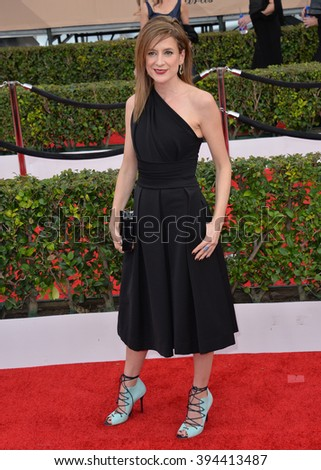 LOS ANGELES, CA - JANUARY 30, 2016: Actress Raquel Cassidy - Baxter in Downton Abbey - at the 22nd Annual Screen Actors Guild Awards at the Shrine Auditorium - stock photo