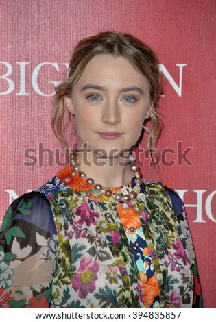 LOS ANGELES, CA - JANUARY 2, 2016: Actress Saoirse Ronan at the 2016 Palm Springs International Film Festival Awards Gala - stock photo