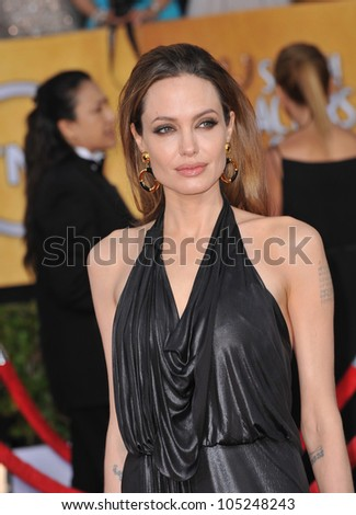 LOS ANGELES, CA - JANUARY 29, 2012: Angelina Jolie at the 17th Annual Screen Actors Guild Awards at the Shrine Auditorium, Los Angeles. January 29, 2012  Los Angeles, CA - stock photo