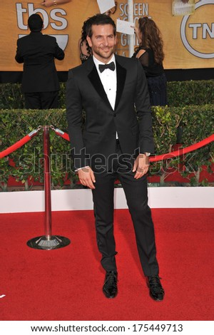 LOS ANGELES, CA - JANUARY 18, 2014: Bradley Cooper at the 20th Annual Screen Actors Guild Awards at the Shrine Auditorium.  - stock photo