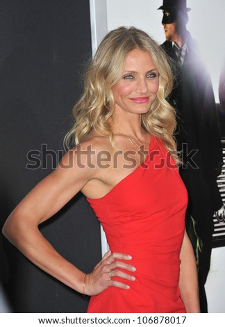 "LOS ANGELES, CA - JANUARY 10, 2011: Cameron Diaz at the Los Angeles premiere of her new movie ""The Green Hornet"" at Grauman's Chinese Theatre, Hollywood. January 10, 2011  Los Angeles, CA - stock photo"