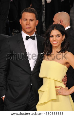 LOS ANGELES, CA - JANUARY 11, 2015: Channing Tatum & Jenna Dewan at the 72nd Annual Golden Globe Awards at the Beverly Hilton Hotel, Beverly Hills. - stock photo