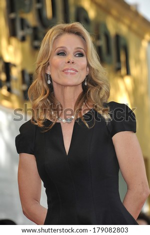 LOS ANGELES, CA - JANUARY 29, 2014: Cheryl Hines on Hollywood Boulevard where she was honored with the 2,516th star on the Hollywood Walk of Fame.  - stock photo