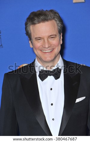 LOS ANGELES, CA - JANUARY 11, 2015: Colin Firth at the 72nd Annual Golden Globe Awards at the Beverly Hilton Hotel, Beverly Hills. - stock photo