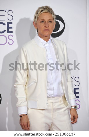 LOS ANGELES, CA - JANUARY 7, 2015: Ellen DeGeneres at the 2015 People's Choice  Awards at the Nokia Theatre L.A. Live downtown Los Angeles.  - stock photo