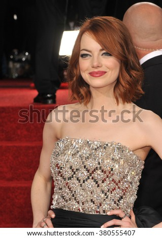 LOS ANGELES, CA - JANUARY 11, 2015: Emma Stone at the 72nd Annual Golden Globe Awards at the Beverly Hilton Hotel, Beverly Hills. - stock photo