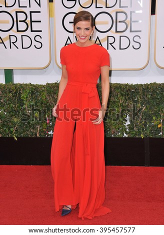 LOS ANGELES, CA - JANUARY 12, 2014: Emma Watson at the 71st Annual Golden Globe Awards at the Beverly Hilton Hotel. - stock photo