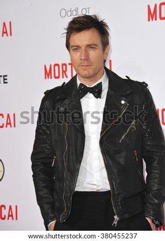 "LOS ANGELES, CA - JANUARY 21, 2015: Ewan McGregor at the Los Angeles premiere of his movie ""Mortdecai"" at the TCL Chinese Theatre, Hollywood. - stock photo"