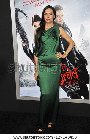 "LOS ANGELES, CA - JANUARY 24, 2013: Famke Janssen at the Los Angeles premiere of her new movie ""Hansel & Gretel: Witch Hunters"" at Grauman's Chinese Theatre, Hollywood. - stock photo"