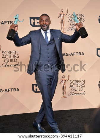 LOS ANGELES, CA - JANUARY 30, 2016: Idris Elba at the 22nd Annual Screen Actors Guild Awards at the Shrine Auditorium - stock photo