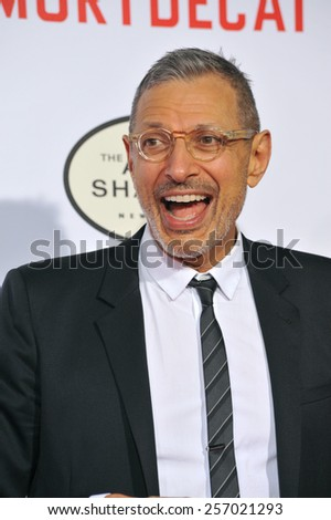 "LOS ANGELES, CA - JANUARY 21, 2015: Jeff Goldblum at the Los Angeles premiere of his movie ""Mortdecai"" at the TCL Chinese Theatre, Hollywood.  - stock photo"