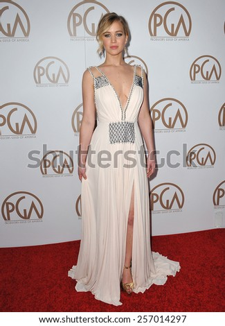 LOS ANGELES, CA - JANUARY 25, 2015: Jennifer Lawrence at the 26th Annual Producers Guild Awards at the Hyatt Regency Century Plaza Hotel.  - stock photo