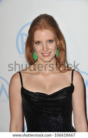 LOS ANGELES, CA - JANUARY 21, 2012: Jessica Chastain at the 23rd Annual Producers Guild Awards at the Beverly Hilton Hotel. January 21, 2012  Los Angeles, CA - stock photo