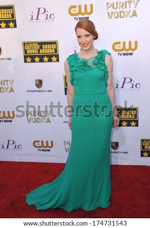 LOS ANGELES, CA - JANUARY 16, 2014: Jessica Chastain at the 19th Annual Critics' Choice Awards at The Barker Hangar, Santa Monica Airport.  - stock photo