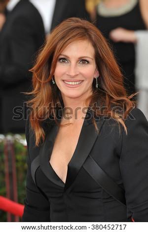 LOS ANGELES, CA - JANUARY 25, 2015: Julia Roberts at the 2015 Screen Actors Guild  Awards at the Shrine Auditorium. - stock photo