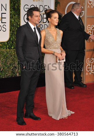 LOS ANGELES, CA - JANUARY 11, 2015: Kate Beckinsale & Len Wiseman at the 72nd Annual Golden Globe Awards at the Beverly Hilton Hotel, Beverly Hills. - stock photo