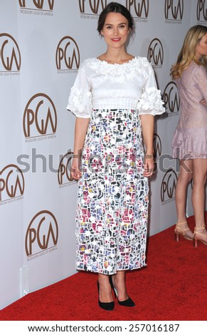 LOS ANGELES, CA - JANUARY 25, 2015: Keira Knightley at the 26th Annual Producers Guild Awards at the Hyatt Regency Century Plaza Hotel.  - stock photo