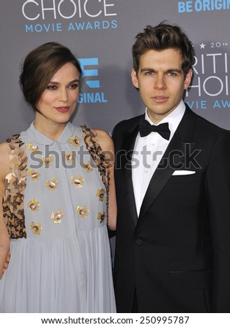 LOS ANGELES, CA - JANUARY 15, 2015: Keira Knightley & husband James Righton at the 20th Annual Critics' Choice Movie Awards at the Hollywood Palladium.  - stock photo