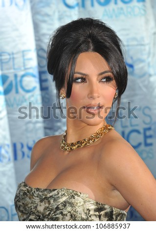 LOS ANGELES, CA - JANUARY 5, 2011: Kim Kardashian at the 2011 Peoples' Choice Awards at the Nokia Theatre L.A. Live in downtown Los Angeles. January 5, 2011  Los Angeles, CA - stock photo