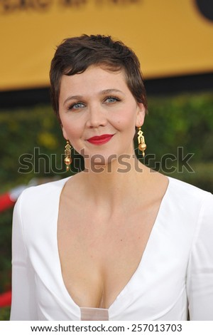 LOS ANGELES, CA - JANUARY 25, 2015: Maggie Gyllenhaal at the 2015 Screen Actors Guild  Awards at the Shrine Auditorium.  - stock photo